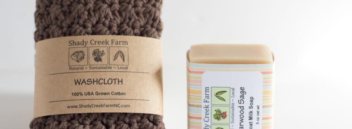 brown washcloth and cedarwood sage goat milk soap